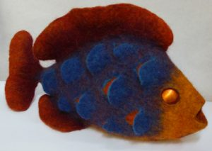 three dimensional felt fish made in Wales by Mandy Nash
