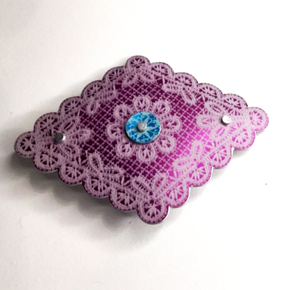 Lace Diamond Brooch purple/turq £12.50 including postage
