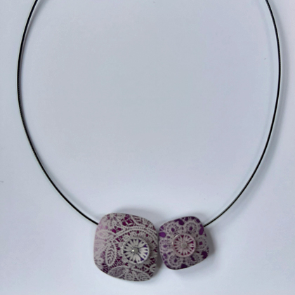 Double Square Necklace purple £20 including postage