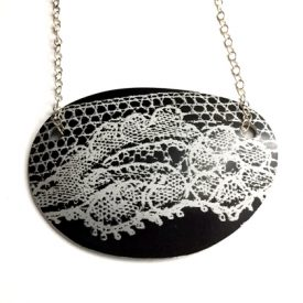 Lace Pebble Necklace black £12.50 including postage
