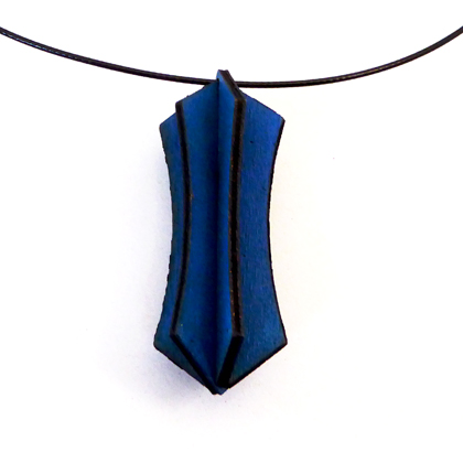 Plywood Lantern Necklace blue £9.50 including postage