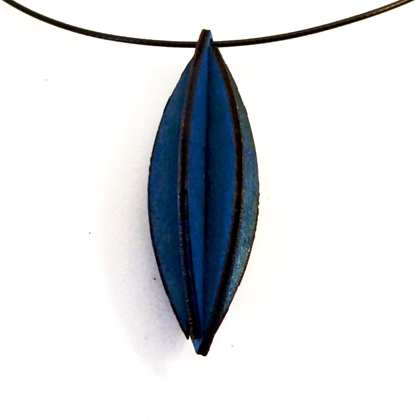 Plywood Long Oval Necklace blue £9.50 including postage