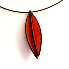 Plywood Long Oval Necklace red £9.50 including postage
