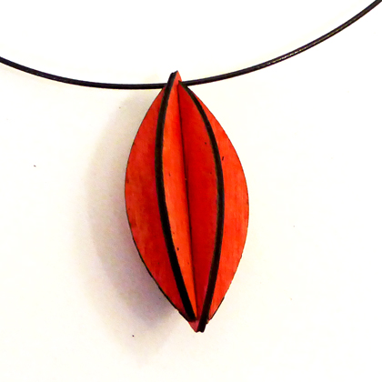 Plywood Fat Oval Necklace red £9.50 including postage