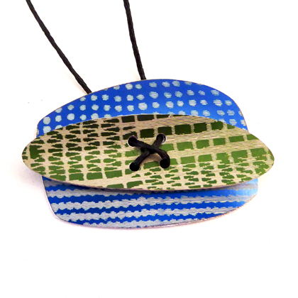 rectangular necklace blue/green