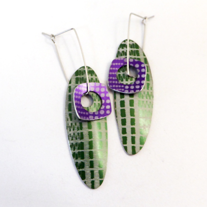oval earrings green/mauve