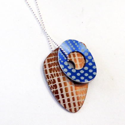 triangle necklace bronze/blue