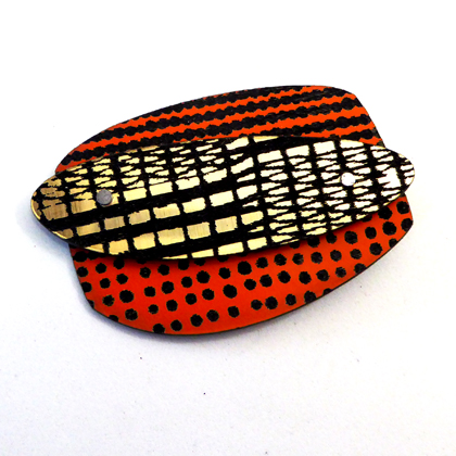 rectangle brooch orange/gold