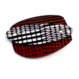 rectangle brooch red/silver