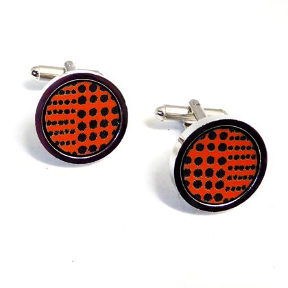 round cufflinks orange