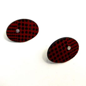 oval earstuds red