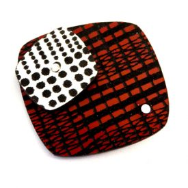 square brooch red/silver
