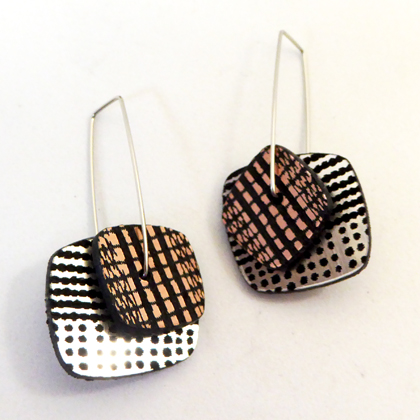 square earrings silver/gold