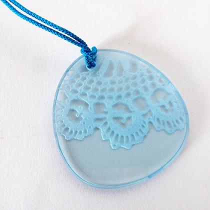 Lace pebble pendant blue £8.50 including postage