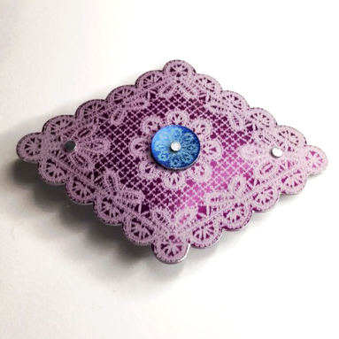 Lace diamond brooch purple/turquoise £12.50 including postage