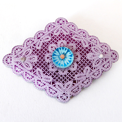 Lace diamond brooch purple turquoise £12.50 including postage