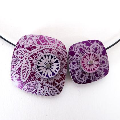 Lace double square necklace purple/mauve  £18.50 including postage