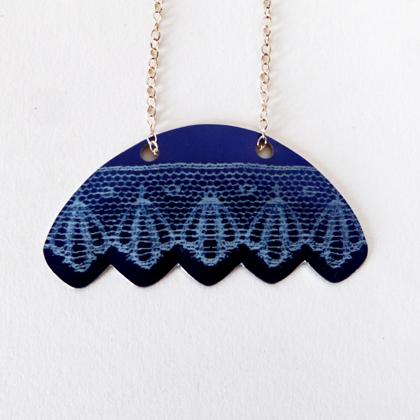 Lace fan necklace blue £12.50 including postage