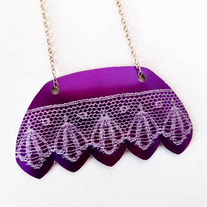 Lace fan necklace purple £12.50 including postage