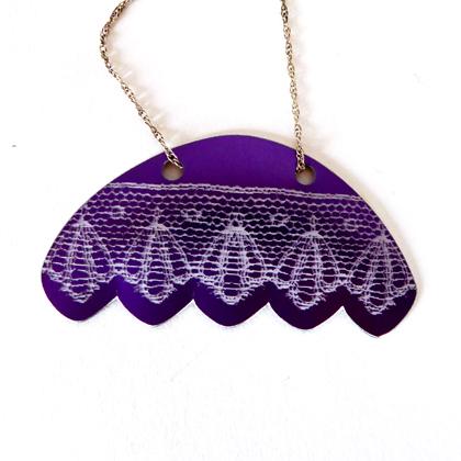Lace fan necklace mauve £12.50 including postage