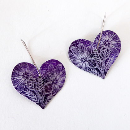 Lace heart earrings mauve £17.50 including postage