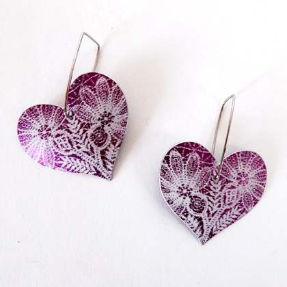 Lace heart earrings purple £17.50 including postage