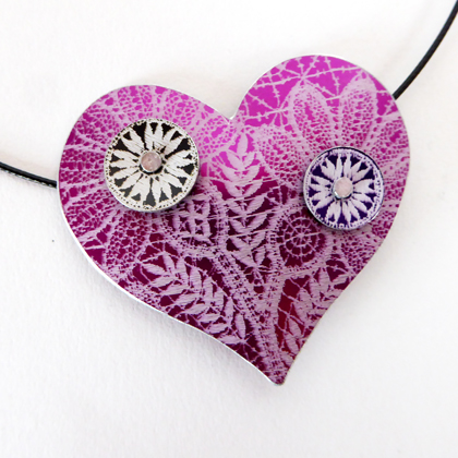 Lace heart necklace purple £17.50 including postage