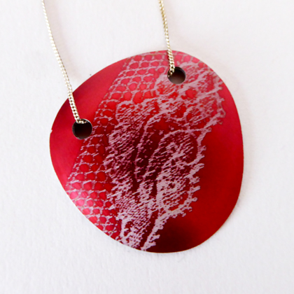 Lace pebble necklace red £12.50 including postage