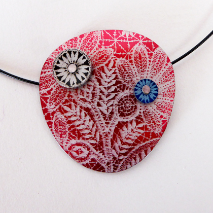 Lace pebble necklace red £17.50 including postage