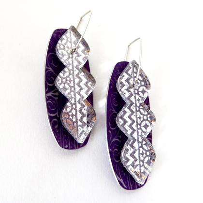 Miniato earrings purple/clear £17.50 including postage