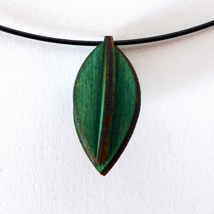 Plywood small oval necklace blue green £9.50 including postage