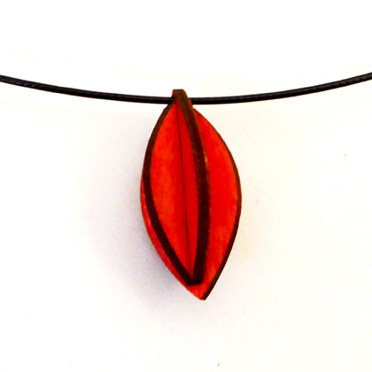 Plywood small oval necklace red £9.50 including postage