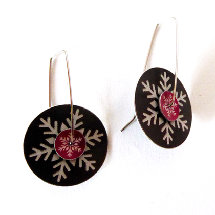 Snowflake earrings black blue £12.50 including postage